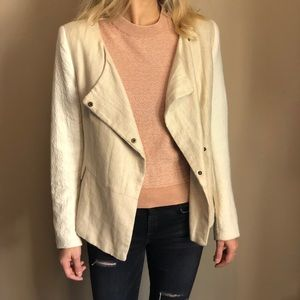 Zara Basic white/ tan blazer jacket